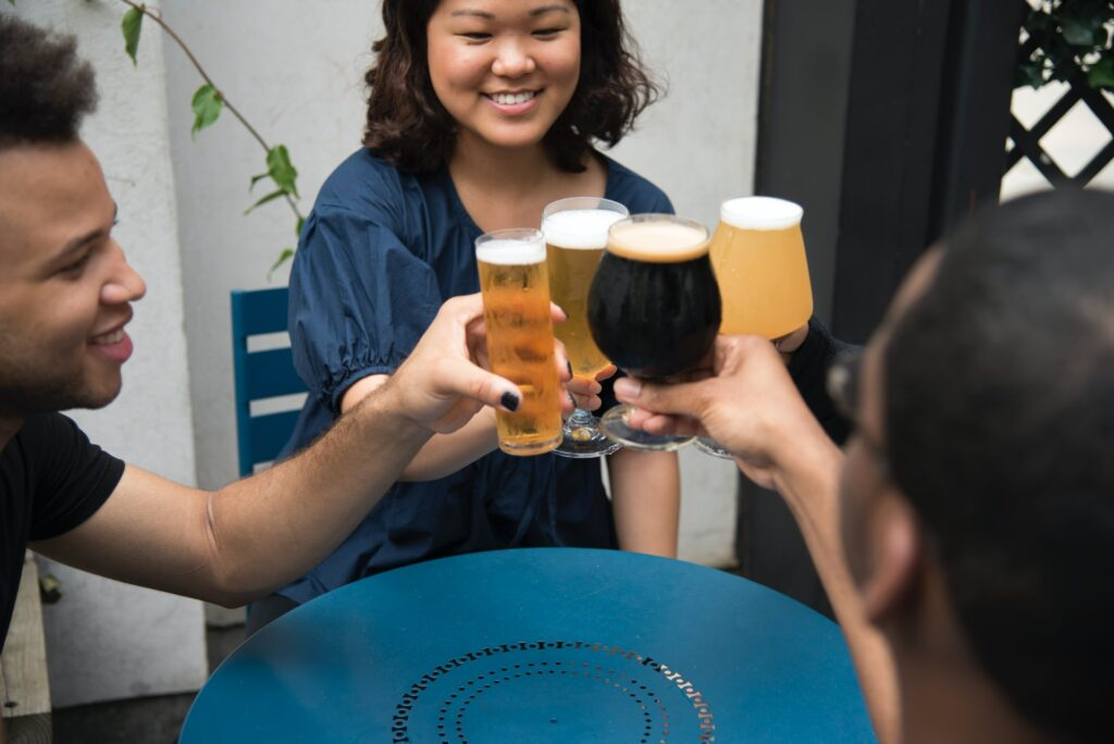 A group enjoying craft beer
